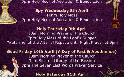 Holy Week Schedule 2020